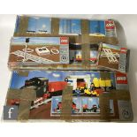 A collection of Lego railway items, 7740 InterCity Passenger Train, 7730 Electric Goods Train,