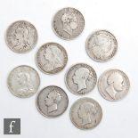 Nine George III to Victoria halfcrowns 1817 x2, 1825, 1836, 1875, 1879, 1887, 1891 and 1898. (9)