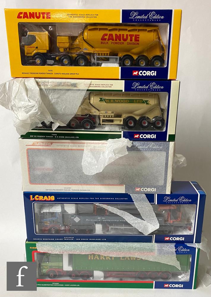 Five Corgi 1:50 scale diecast models, comprising CC12218 Ian Cragi Scania Dropside Crane Trailer,