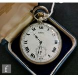 A Roamer open face lever fob watch, white enameled dial with subsidiary dial, the reverse stamped
