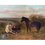 AFTER JAMES HARDY (JUNIOR) - A young game keeper with his pony, over painted print laid down on