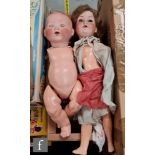 Two Armand Marseille bisque head dolls, a Dream Baby with sleeping brown eyes and open mouth with