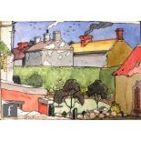 ALBERT WAINWRIGHT (1898-1943) - Jack Fawcett's Garden, a sketch of rooftops with a view into a