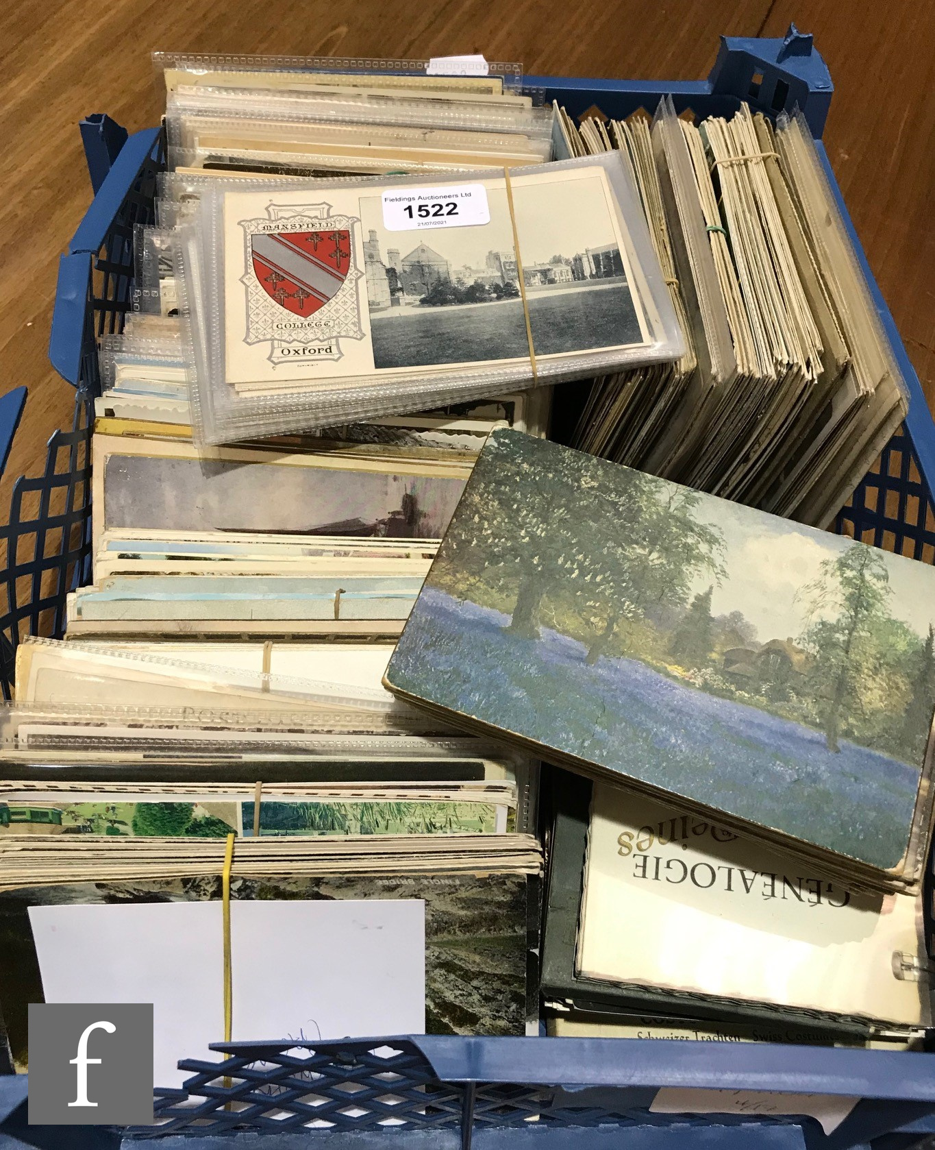 A large collection of loose postcards, various locations in Wales and England including Oxford and