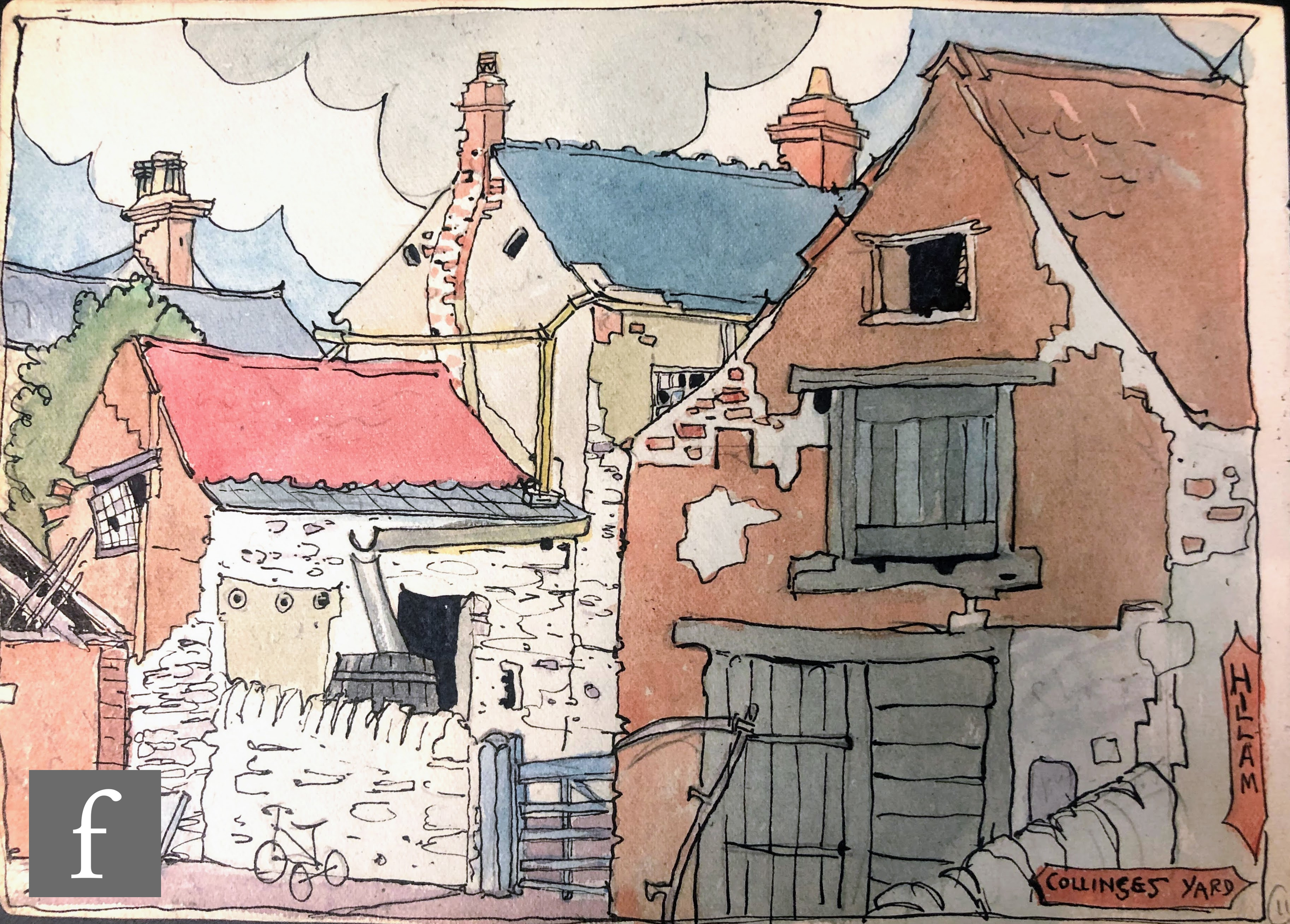 ALBERT WAINWRIGHT (1898-1943) - Hillam, Collinses Yard, a study of cottages, to the reverse sketches