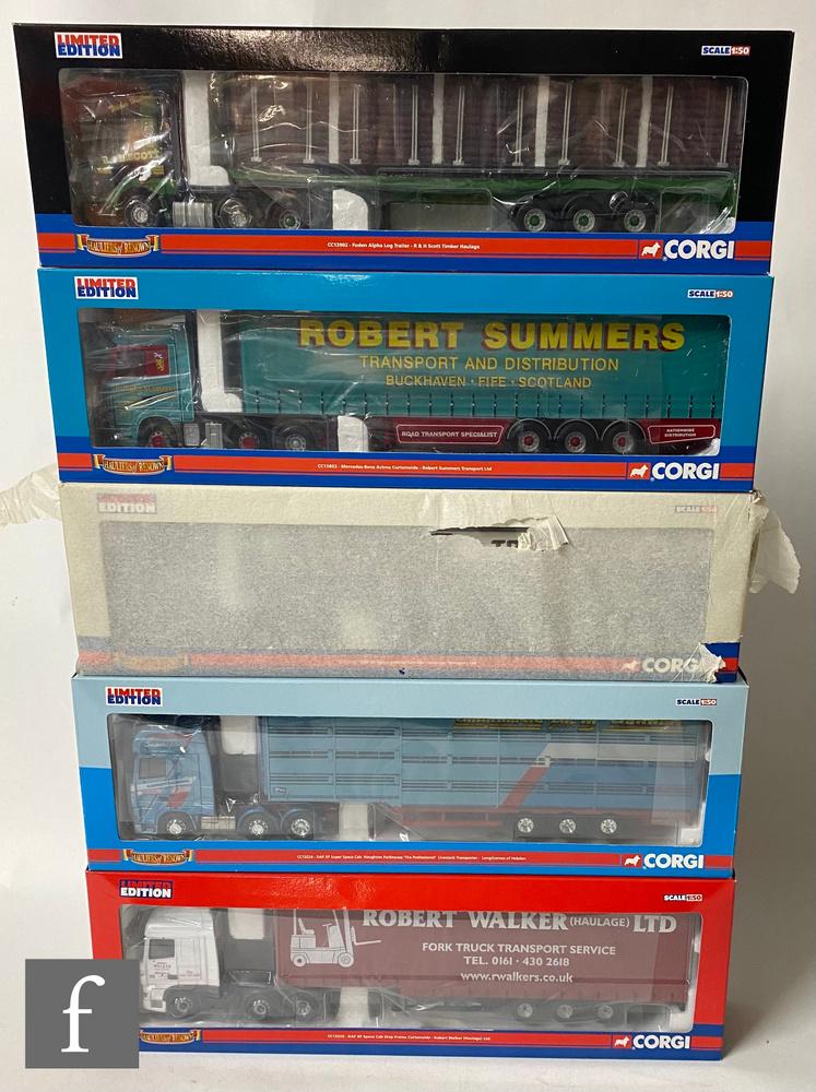 Five Corgi Hauliers of Renown 1:50 scale diecast models, comprising CC13902 R & H Scott Timber