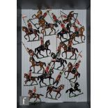 A collection of Heyde solid cast toy soldiers, all mounted, comprising British officer with drawn