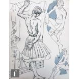 ALBERT WAINWRIGHT (1898-1943) - A study depicting a semi nude male figure wearing a kilt, beside two