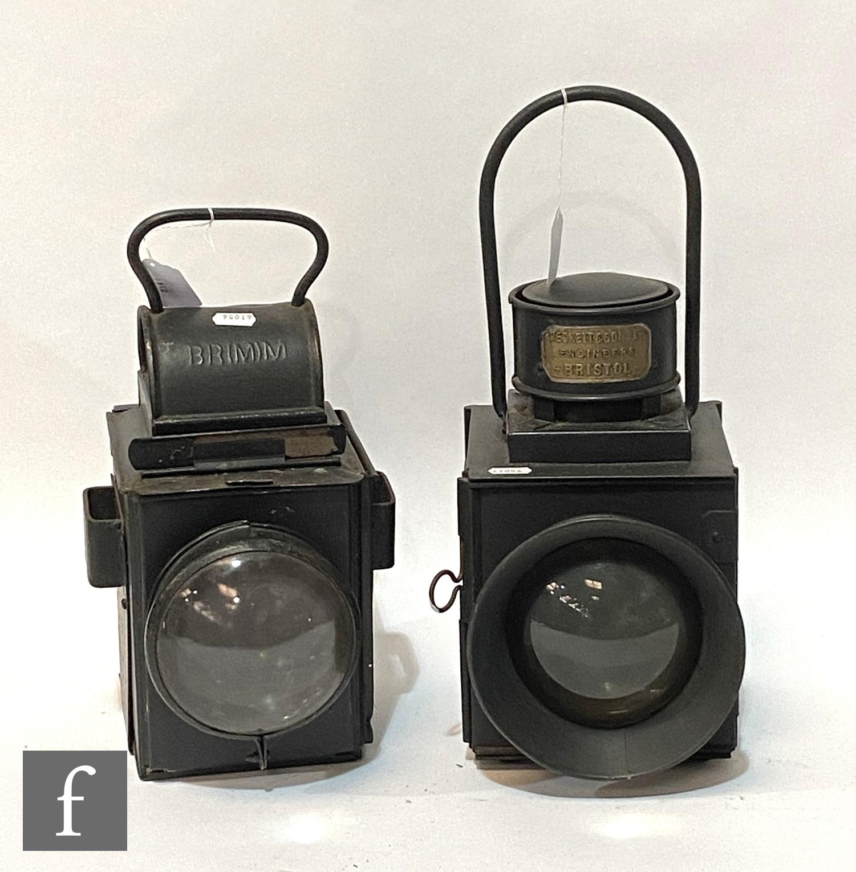 A locomotive black painted industrial head lamp, brass makers plate Beckett & Sons Ltd Bristol,