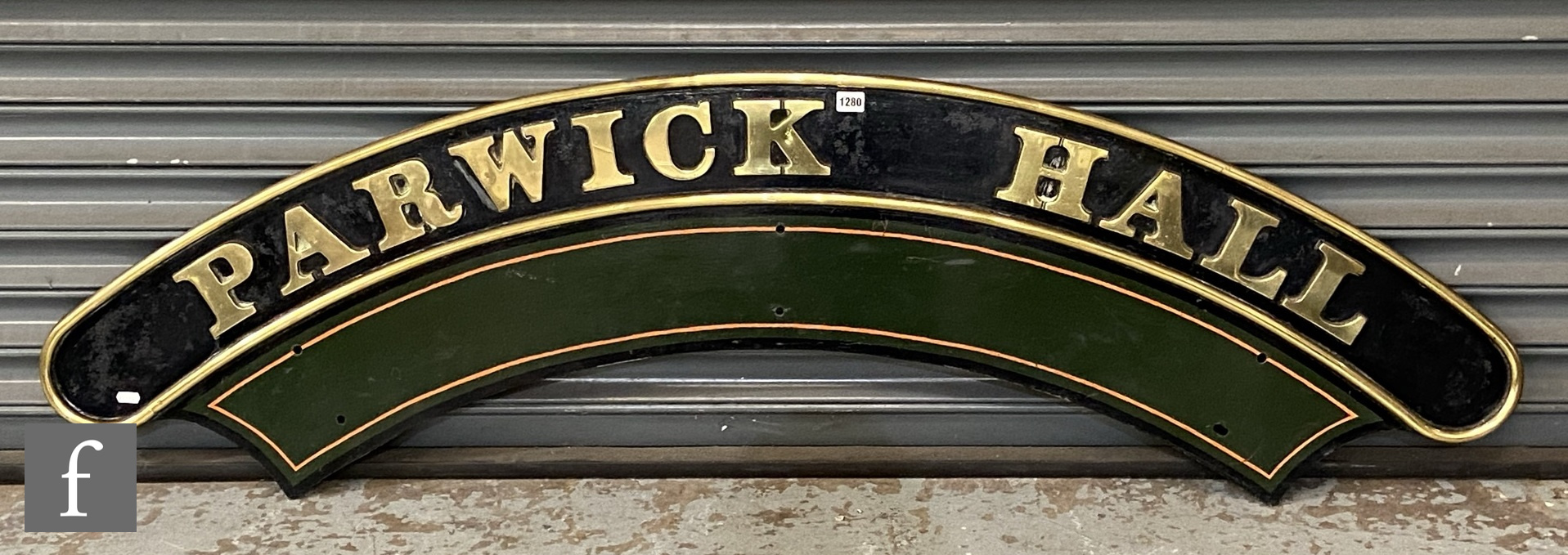 A modified Hall class locomotive brass name plate Parwick Hall, stamped to the rear R 6985