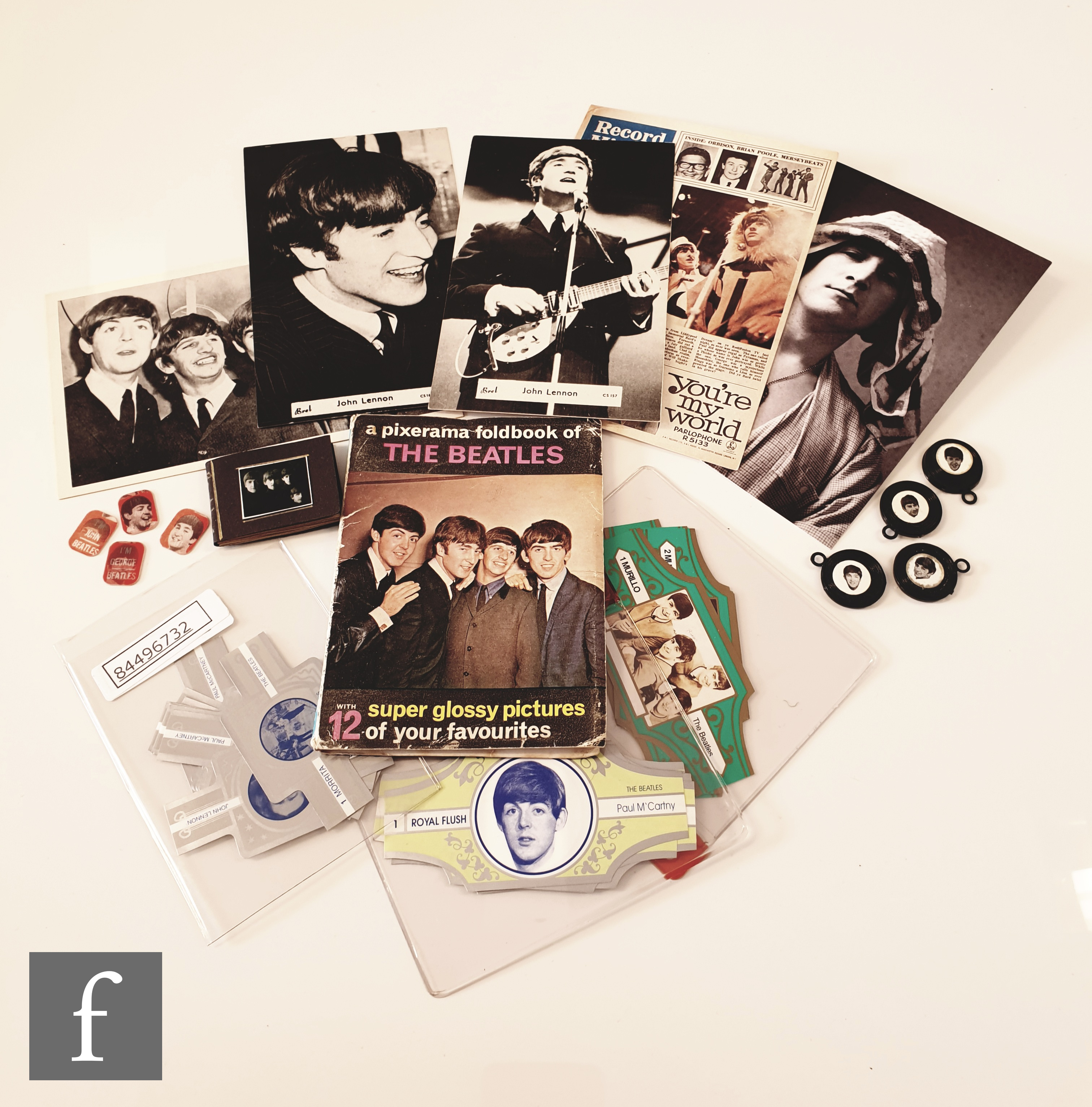 A mixed collection of vintage Beatles memorabilia, to include a group of cigar bands including
