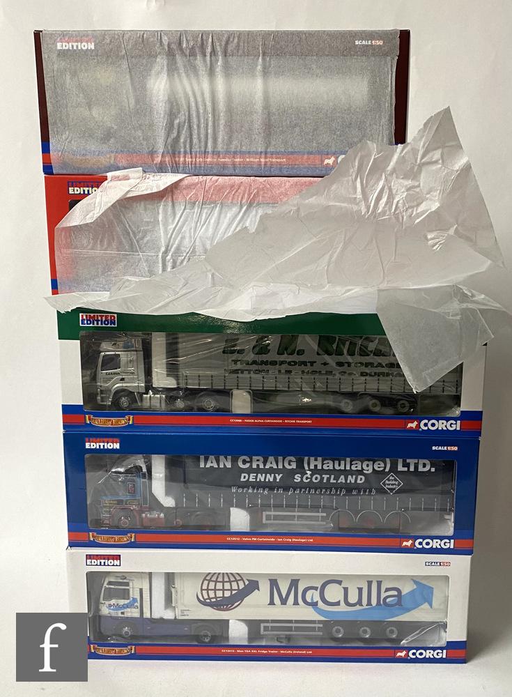 Five Corgi Hauliers of Renown 1:50 scale diecast models, comprising CC13906 Ritchie Transport