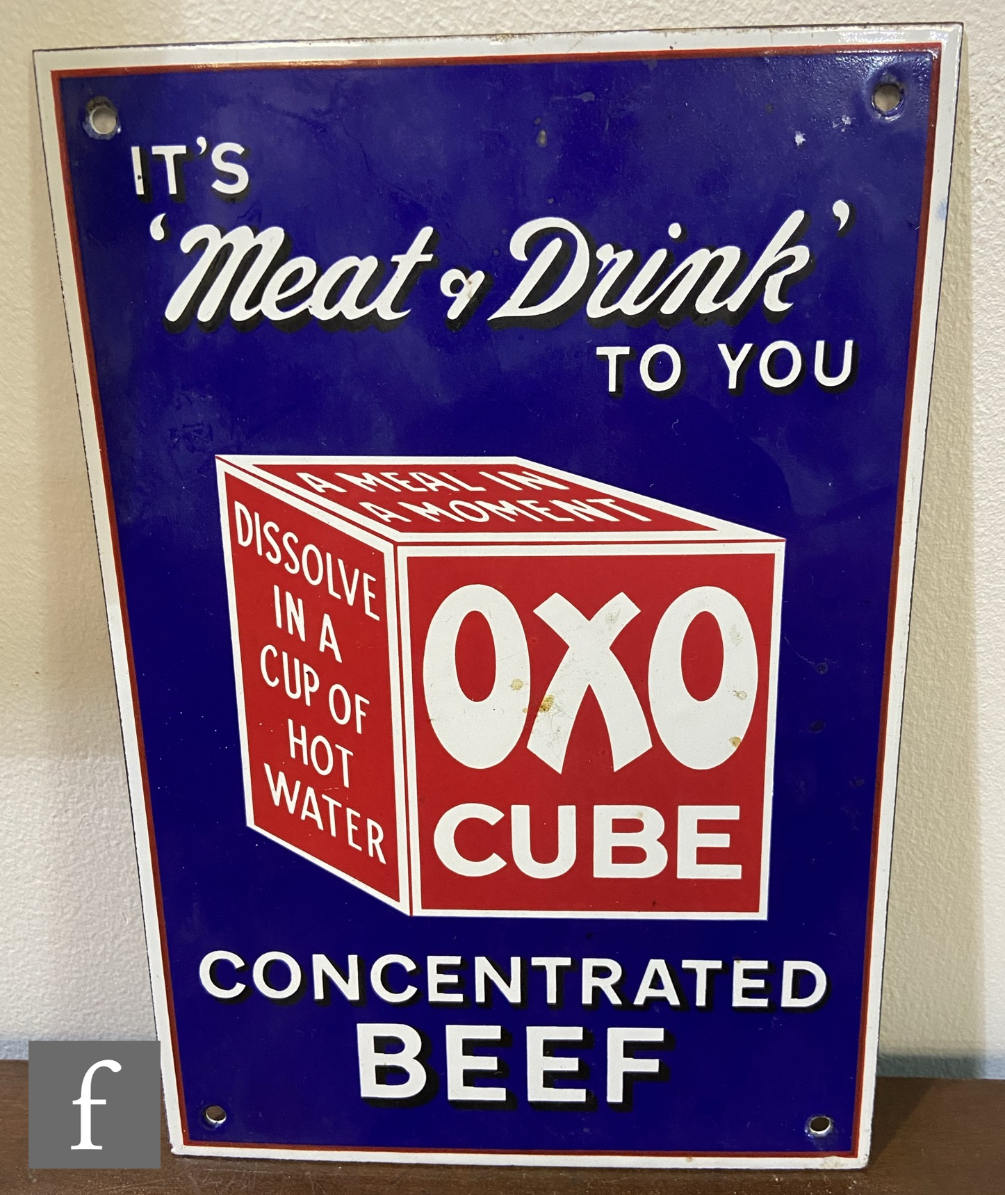 A reproduction Oxo pictorial enamel advertising sign 'It's Meat & Drink to you' the text in white