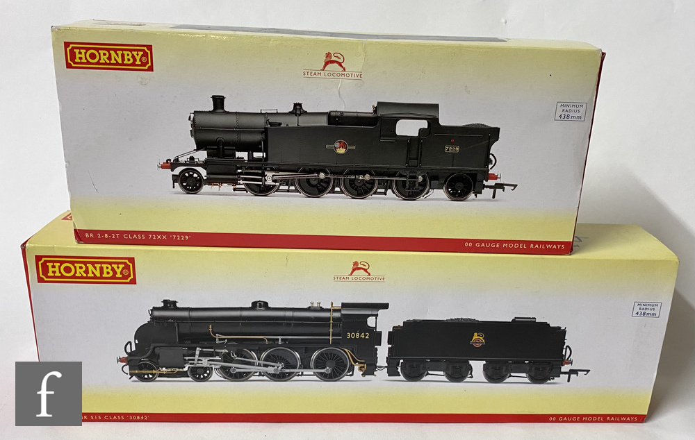 Two Hornby OO gauge DCC Ready BR black locomotives, R3412 S15 Class 4-6-0 '30842' and R3128 Class