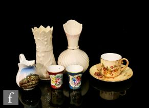 A collection of assorted ceramics comprising a Royal Worcester blush ivory cup and saucer, two