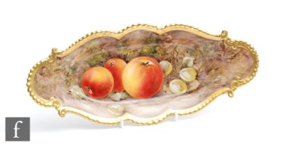 A Royal Worcester Fallen Fruits shaped oval dish decorated by Love with hand painted apples and