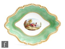 A 19th Century Worcester Flight Barr and Barr shaped oval dish decorated to the central roundel with