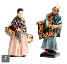 Two Royal Doulton figures comprising The Orange Lady HN1759 and the Carpet Seller HN1464, A/F. (2)