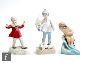 Three Royal Worcester models of children comprising August 3441, S/D, Fantails 3760, S/D and January