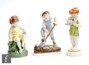 Three Royal Worcester models of children from the Children of the Week series modelled by Freda