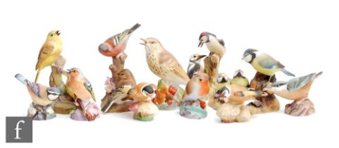 Ten assorted Royal Worcester bisque models of birds comprising Nuthatch 3334, S/D, Thrush 3234, S/D,
