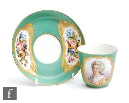 A 19th Century Sevres coffee cup and saucer, the can decorated with a hand painted portrait