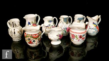 Nine assorted later 20th Century Royal Worcester jugs comprising three 250th Anniversary jugs -
