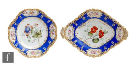 Two 19th Century dessert plate dishes, possibly Spode, both decorated with hand painted botanical