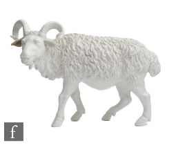 An early 20th Century German blanc de chine model of a goat, unmarked, length 24cm, restored.