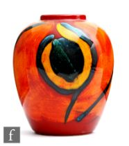 A later 20th Century Poole Pottery Living Glaze vase decorated with yellow, black and orange