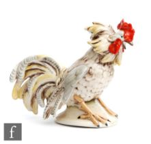 A mid 20th CenturyGrafenthal model of a fighting cockerel, printed mark, height 16cm.