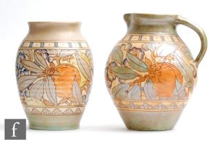 A 1930s Charlotte Rhead for Bursley Ware Art Deco flower jug and vase, both decorated in the TL5
