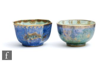Two 1920s Wedgwood Ordinary Lustre bowls designed by Daisy Makeig Jones, the first of octagonal form