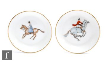 A pair of later 20th Century Royal Worcester pin dishes transfer decorated with a huntsman and