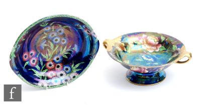 Two 1930s Maling bowls, the first a comport with twin handles decorated in pattern 5030 with