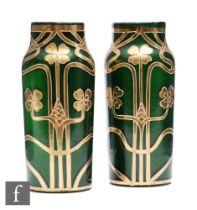 Unknown - Bohemian - A pair of continental Art Nouveau glass vases, each of shouldered cylindrical