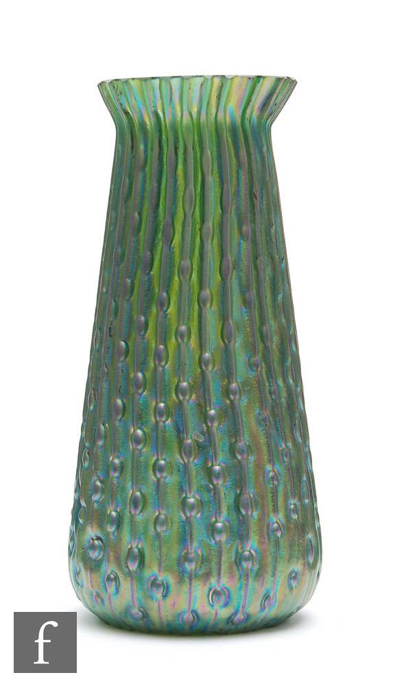 Kralik - An early 20th Century vase in the Sea Urchin pattern of tapered sleeve form with a flared