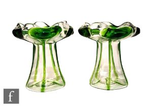 Stuart and Sons - A pair of early 20th Century glass vases, each of tapering form with wide