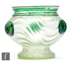 Loetz - A large vase of footed ovoid form with an everted rim, decorated in the Orpheus pattern with