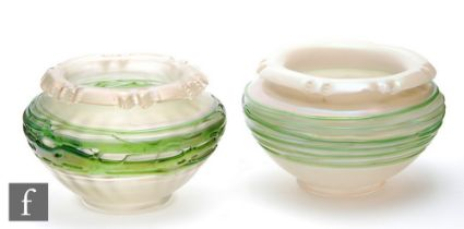 Kralik - A near pair of early 20th Century posy bowls of shouldered ovoid form with a roll wave rim,