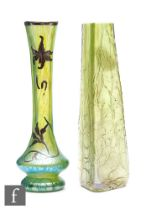 Kralik - A Bohemiam glass vase of triangular form, in a rough crackle effect in a green iridescence,