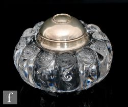 Tiffany & Co - A sterling silver and glass inkwell, the glass body possibly English by Stevens &