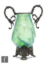 Loetz - An early 20th Century vase in the Formosa pattern of lobed tapered form, decorated with