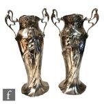 WMF (Wurttembergische Metallwarenfabrik) - A pair of early 20th Century Art Nouveau pewter flower