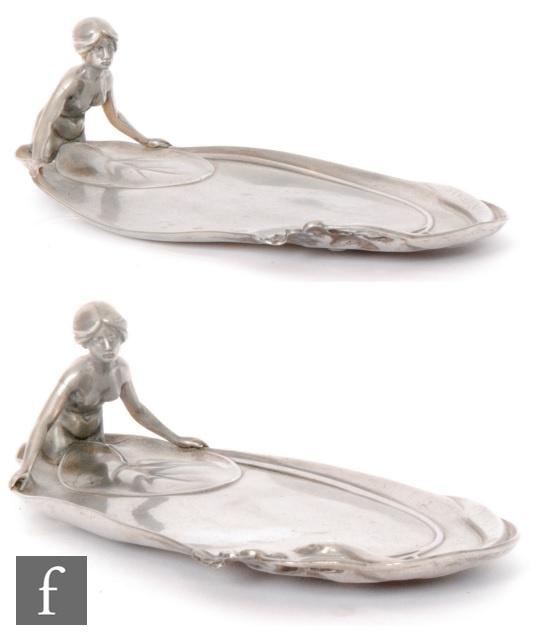 WMF (Wurttembergische Metallwarenfabrik) - A pair of early 20th Century Art Nouveau pewter
