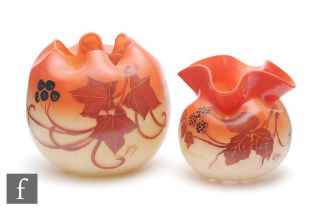 Legras - Two early 20th Century glass posy bowls, each enamel decorated with leaves and berries on a