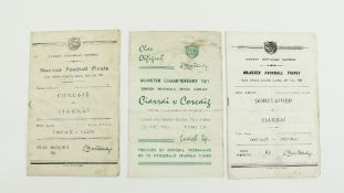 G.A.A.: Football, 1960s, (Munster Football Championships), a collection of three Official Match