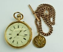 "A fine quality 19th Century 18ct gold case ""Centre Seconds Chronograph Pocket Watch,"" with enamel"