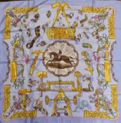 """Hermes, Paris: An attractive silk Scarf, with horse and jockey in centre, approx. 33"""" x 33"""". (1)"""
