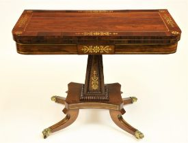 An attractive Regency period fold-over rosewood and brass inlaid Card Table, on upward square